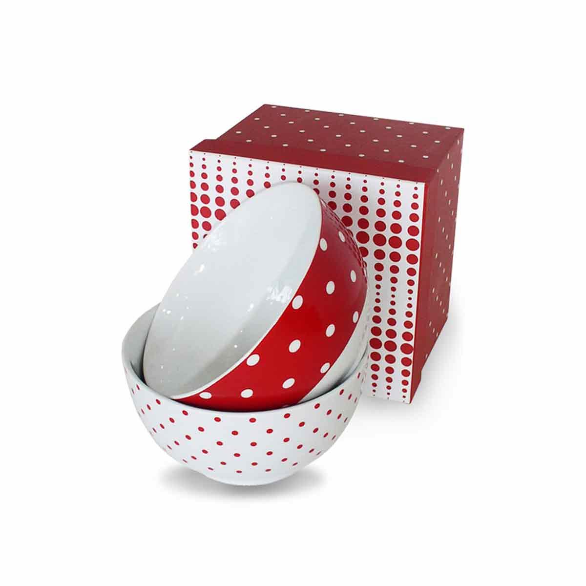 Set činija crveno-bele tufne 3.1801.002