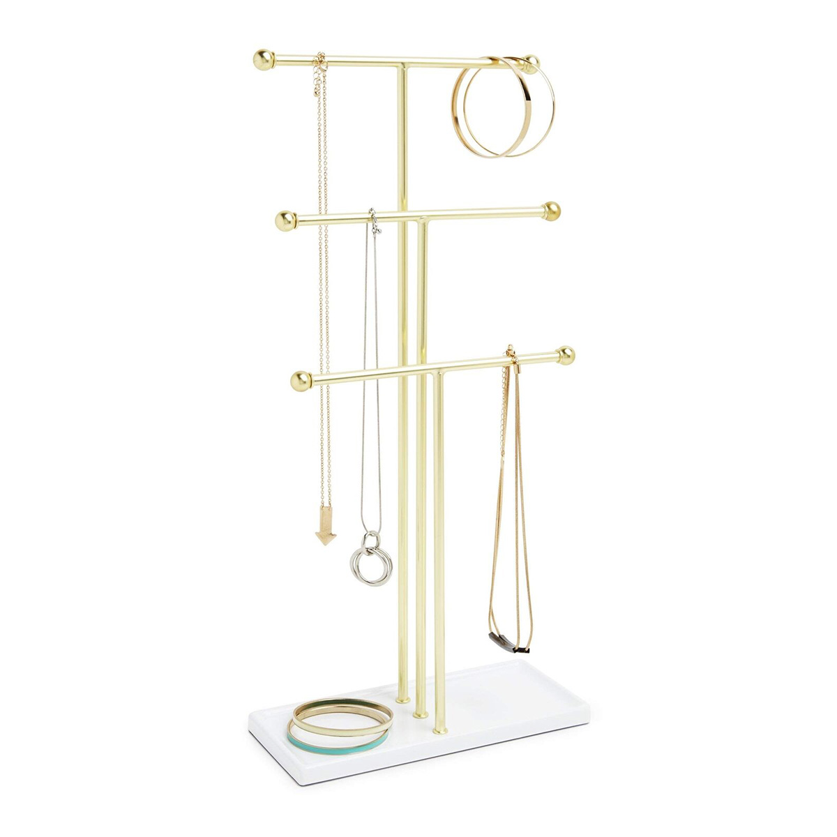 Postolje za nakit TRIGEM 299330-524 belo/mesing