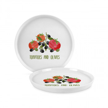 604346 TOMATOES&OLIVES TREND PLATE 27